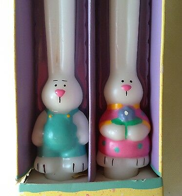 Rare Vintage Russ Tapered Bunny Rabbit Easter Candles Holiday Novelty Couple