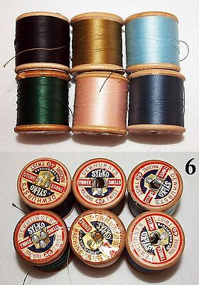 6 Wooden Vintage Cotton Reels, Part Used, Various Colours,