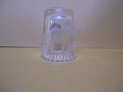 Vintage etched glass elephant thimble made in Western Germany