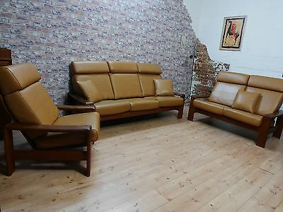 teak leder sofagarnitur 3er 2er sofa und sessel danisch design 70er jahre eur 790 00. Black Bedroom Furniture Sets. Home Design Ideas