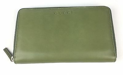 8f9942894f5 AUTHENTIC Gucci XL Green Tea Softcalf Leather Zip Around Wallet  321117