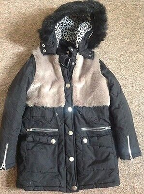 New Girls Age 9-10 Free Spirit  Coat With Detachable Fur Trim And Grey Fur Panel