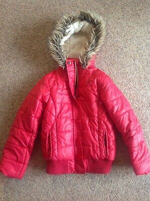Girls Yd Age 9-10 Red Chunky Coat With Hood