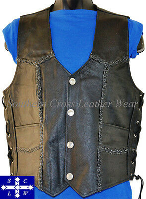 Men's Motorcycle Braided Buffalo Nickle Snap Buttons Leather Vest Size S-4XL
