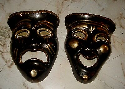 Theater Drama Masks Comedy & Tragedy Solid Brass Hanging Wall