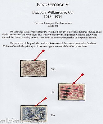 """GREAT BRITAIN - 1918 2s6d to 10s """"Seahorses"""" Specialised Collection - Used"""