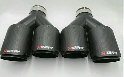 2 x Universal AKRAPOVIC Style Twin Exhaust Tips Carbon Fiber Black Tipped
