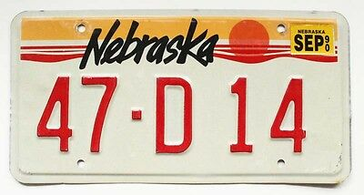 "Vintage Nebraska 1990 ""Sunset on Great Plains"" Valley County License Plate"