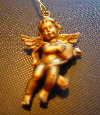 """Angel Ornament  holding a heart 1 1/4""""  tall Tiny Gold Plastic"""