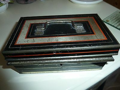 Vintage Tin Cash Box with Tray