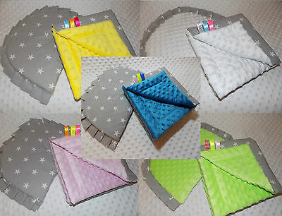 Pillow + Very Cosy Reversible Blanket Quilt Set for Pram & Moses Basket -Minky