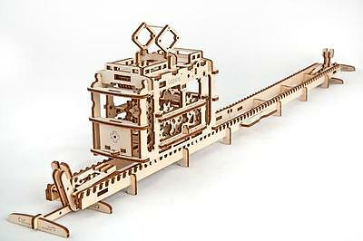 UGEARS Tram with rails 3D Mechanical Wooden Model for self-assembly
