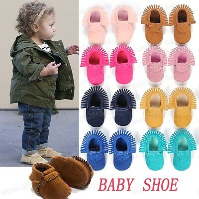 0-3 Baby Infant Boys Girls Soft Sole Moccasin Toddler Tassel Leather Crib Shoes