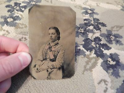 Antique Tintype Photograph of YOUNG WOMAN IN DRESS