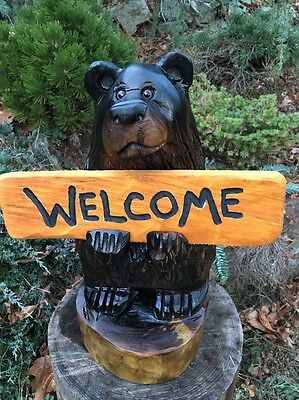 CHAINSAW CARVED BEAR w/ *CUSTOM* SIGN WOOD CARVING BLACK WALNUT WOOD X-MAS GIFT