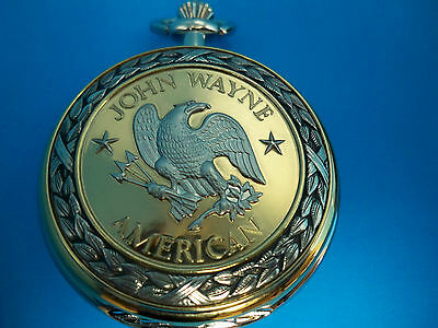 "JOHN WAYNE ""AMERICAN"" SIGNED COLLECTOR'S POCKET WATCH by FRANKLIN MINT - NEW"