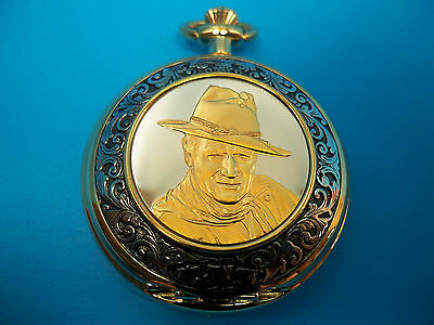 """JOHN WAYNE """"COLLECTOR"""" SIGNED POCKET WATCH by FRANKLIN MINT W/STAND, DOME,  NEW"""