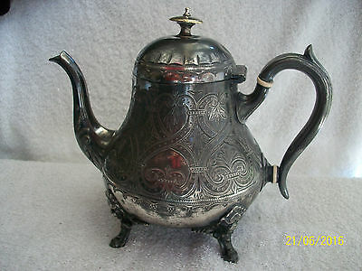Dublin Silver Plated Tea Pot by Murphy & Shehan .Victorian .Chased Design
