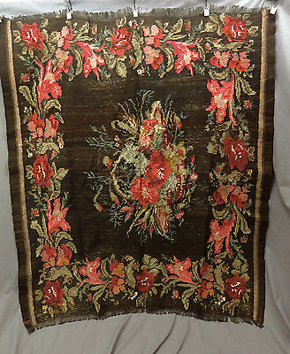 Antique Bessarabian Kilim Roses Wool On Wool Excellent Condition