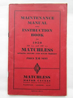 Matchless 350/500cc Instruction manual book 1950