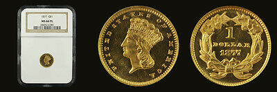 1877 G$1 Gold Dollar NGC MS66 Proof Like