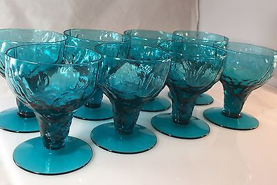 "Vintage Peacock Blue Seneca Glass Stemware 3.75"" Tall x 3"" D Set of 8"