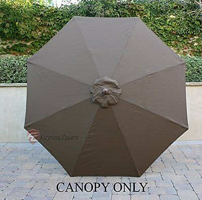 9ft Patio Outdoor Yard Umbrella Replacement Canopy Cover Top 8 Ribs Cocoa