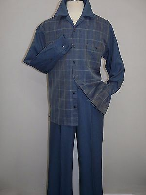 Men Two piece walking suit INSERCH Long Sleeves Slacks Set Plaid 135-10 denim