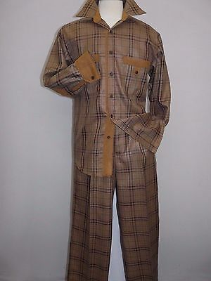 Men Two piece walking suit INSERCH Long Sleeves Slacks Set Plaid 133-05 caramel