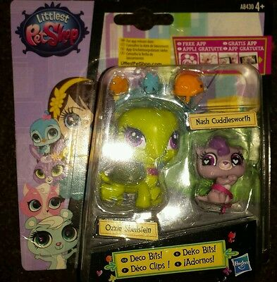 Littlest Pet Shop Deco Bits! Ozzie Shellstein & Nash Cuddlesworth NEW & SEALED!!
