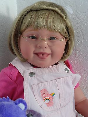 """Reborn 22"""" Down Syndrome Toddler Girl Doll """"Care Bear Katie"""""""