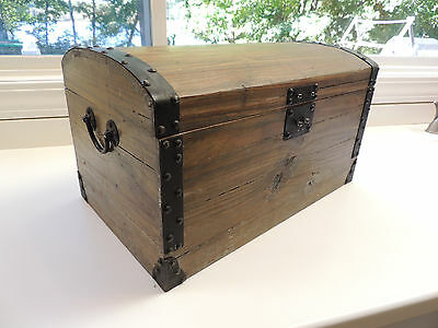 Chest Wooden And Metal Trim  Small Trunk Box
