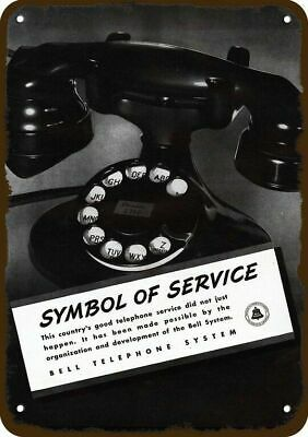 1937 BELL TELEPHONE SYSTEM Vintage Look Replica Metal Sign - RETRO ROTARY PHONE