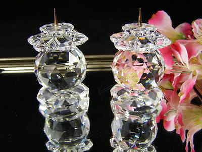 Vintage Pair Of Swarovski  Faceted Prism Ball Crystal Candle Holders Pin Style