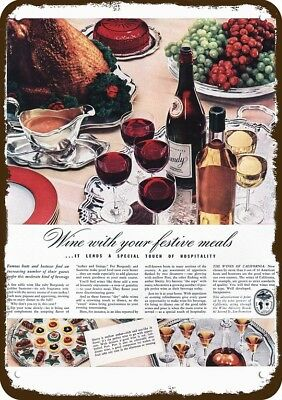 1939 CALIFORNIA RED WINE Vintage Look Replica Metal Sign - THANKSGIVING MEAL