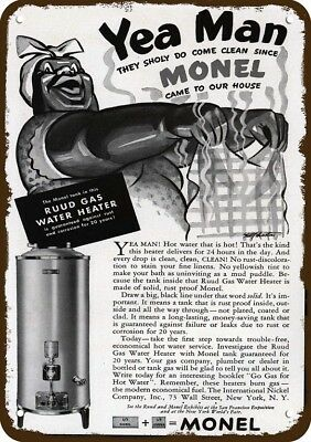 1939 MONEL RUDD WATER HEATER Vintage Look Replica Metal Sign BLACK AMERICANA Art