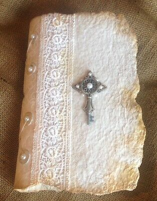 Handmade journals / handmade paper, vintage fabric, pearls - vintage wedding 16
