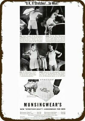1941 MUNSINGWEAR Men Underwear Vintage Look Metal Sign BILL & HENRY PILLOW FIGHT