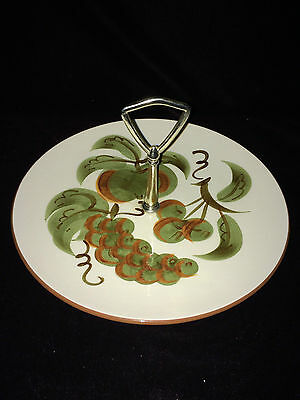 """Stangl Orchard Song Fruit Pattern Center Handle Serving Dish Tidbit Tray 10"""""""