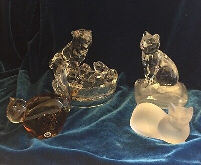 Crystal And Glass Cat Ornaments