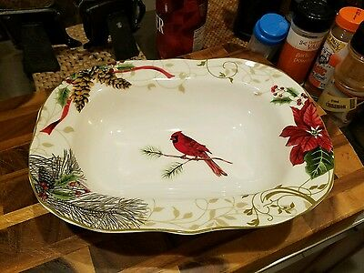 222 Fifth rectangular Serving Bowl Holiday Wishes cardinal pine cone Porcelain
