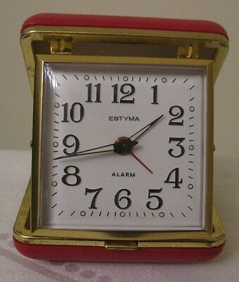 Vintage Estyma travel alarm clock in red case, working perfectly
