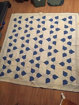 """Antique Quilt Hand-Quilted, 76""""x74"""",Multi-Color"""