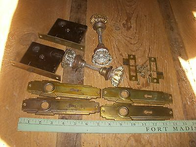 antique door hardware /  vintage art deco glass doorknob sets with latches