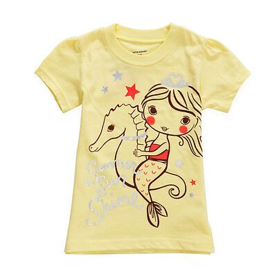 2015 New Little Maven Summer Baby Girl Child Sea Horse Yellow Cotton Short Sleev