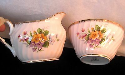 Vintage FOLEY, PALE PINK w FLOWERS creamer and open sugar  BONE CHINA, ENGLAND
