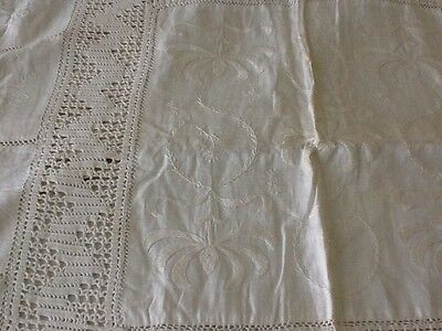 Antique embroidered linen blanket/ quilt cover (cream). REDUCED