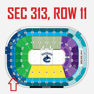 2 Tickets Feb 28 - Detroit Red Wings Vs Vancouver Canucks - Sec 313 Row 11