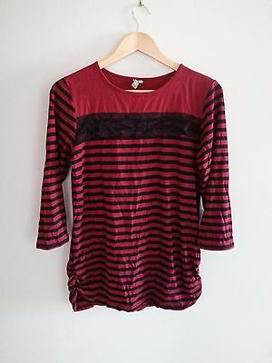 Nine & Mine Maternity Top Red & Black Striped With Lace Detail S12