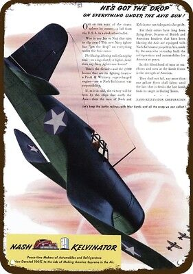 1943 NASH CORSAIR WWII Fighter Airplane Vintage Appearance Replica Metal Sign